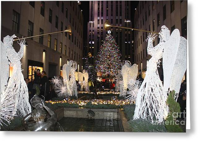 Rockefeller Center Snow Angels And Christmas Tree At Night Greeting Card by John Telfer