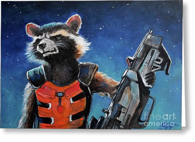 Rocket Greeting Card by Tom Carlton