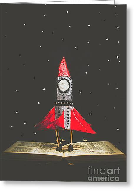 Rockets And Cartoon Puzzle Star Dust Greeting Card