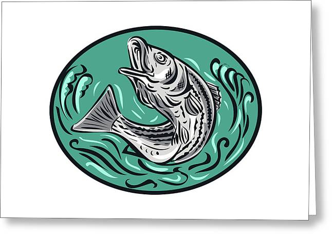 Rockfish Jumping Color Oval Drawing Greeting Card by Aloysius Patrimonio