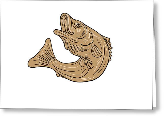 Rockfish Jumping Up Drawing Greeting Card by Aloysius Patrimonio