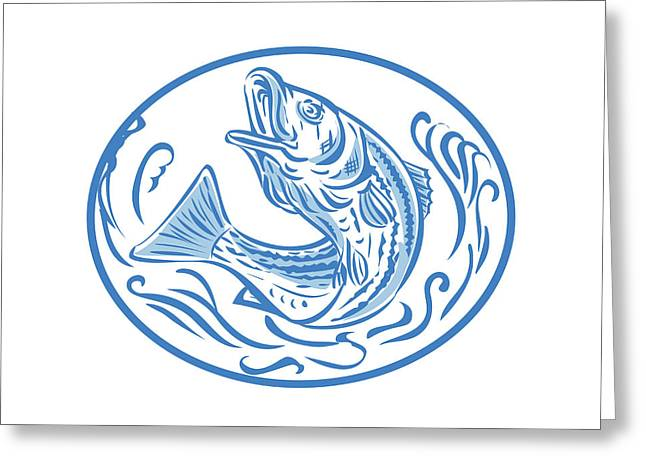 Rockfish Jumping Up Oval Drawing Greeting Card by Aloysius Patrimonio
