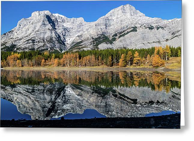 Rockies From Wedge Pond Under Late Fall Colours, Spray Valley Pr Greeting Card