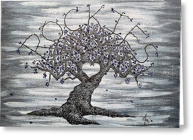 Greeting Card featuring the drawing Rockies Love Tree by Aaron Bombalicki