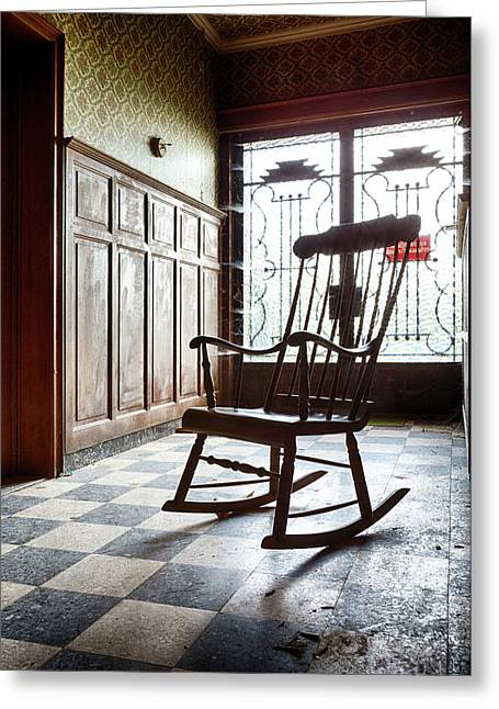 Rocking Chair - Abandoned House Greeting Card by Dirk Ercken