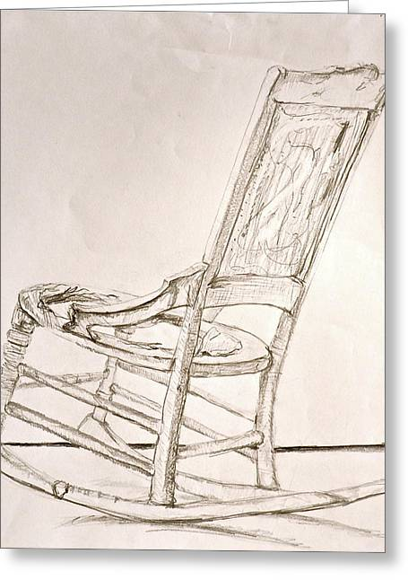 Rocking Chair Sketch Greeting Card By Laura Ogrodnik