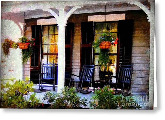 Rocking Chairs On A Country Porch  Greeting Card