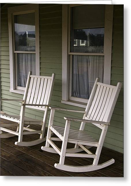 Rocking Chairs On The Porch Greeting Card by Todd Gipstein