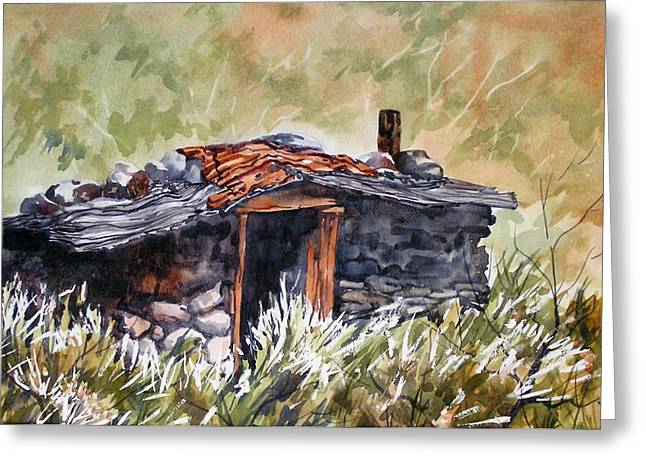 Greeting Card featuring the painting Rocking Miners Cabin by Pat Crowther