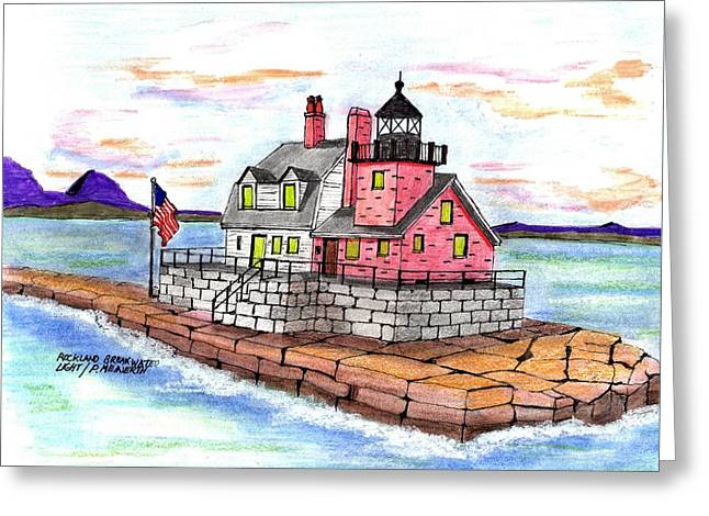 Rockland Breakwater Light Greeting Card by Paul Meinerth