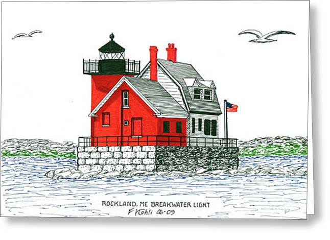 Rockland Breakwater Lighthouse Greeting Card by Frederic Kohli