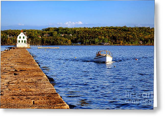 Rockland Harbor Breakwater Light And Passing Craft Greeting Card