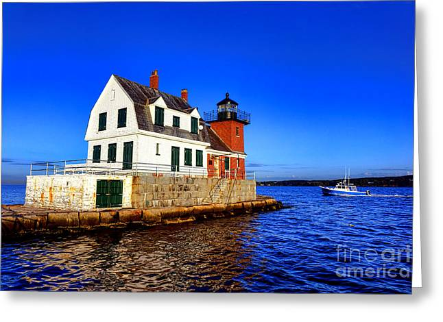 Rockland Harbor Light And Fishing Boat Greeting Card
