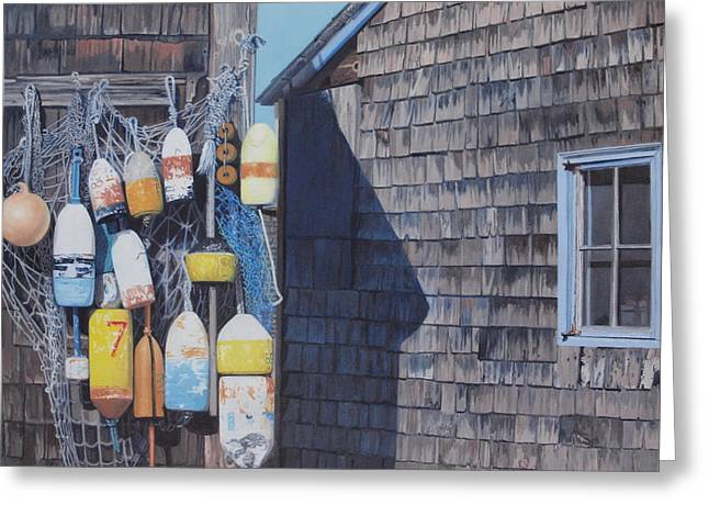Rockport Fishing Shack With Lobster-buoys And Nets Greeting Card by Barbara Barber