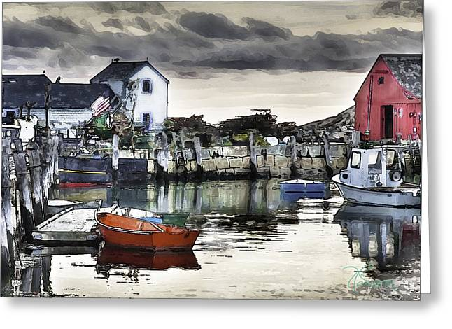 Rockport Harbor Early Morning Greeting Card by Tom Cameron