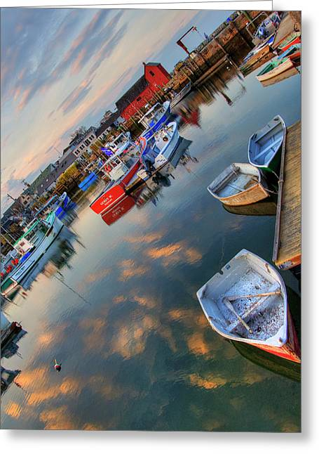 Greeting Card featuring the photograph Rockport Harbor Motif #1  by Joann Vitali