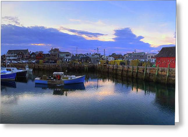 Greeting Card featuring the photograph Rockport Harbor Sunset Panoramic With Motif No1 by Joann Vitali