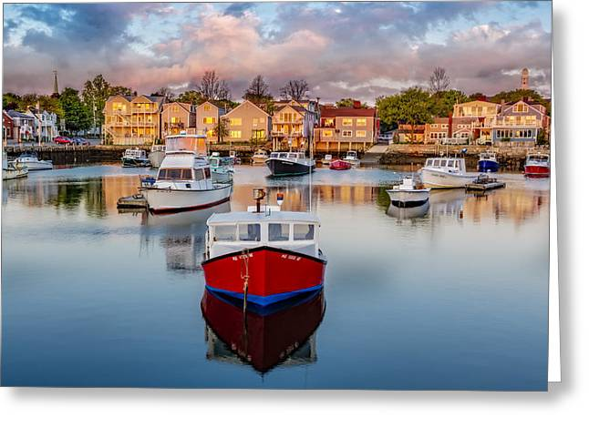 Rockport Harbor Greeting Card by Susan Candelario