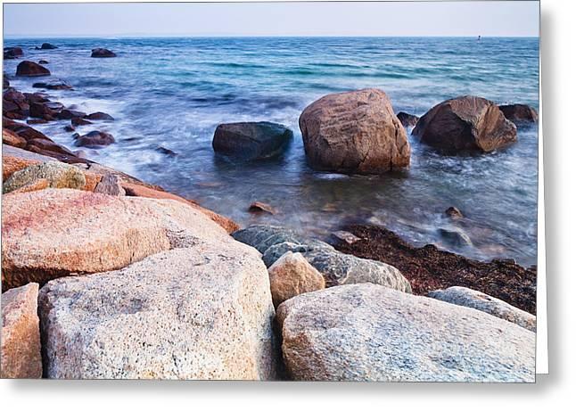 Rocks Along The Coastline  Falmouth Greeting Card by Kav Dadfar