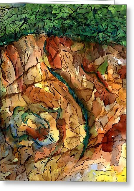 Rocks And Caves Greeting Card by Marilyn Barton