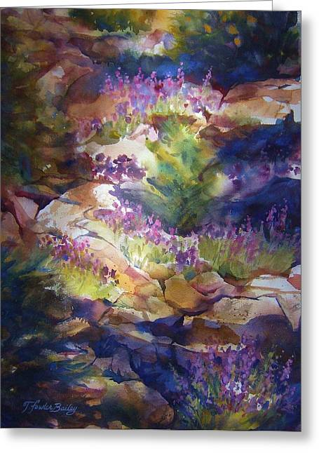 Therese Fowler-bailey Greeting Cards - Rocks and Lupine    SOLD Greeting Card by Therese Fowler-Bailey