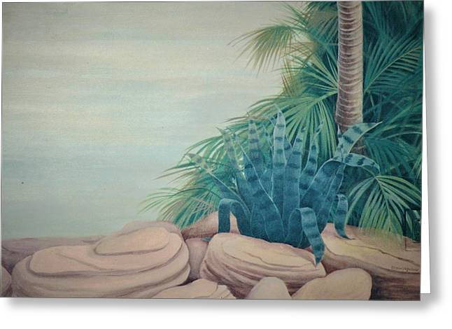 Rocks And Palm Tree Greeting Card