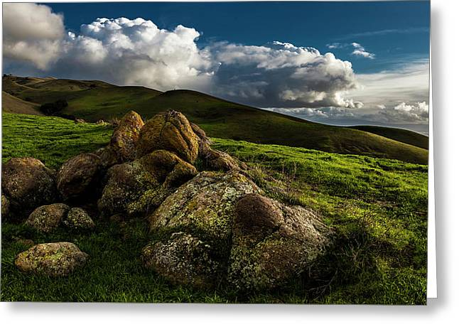 Rocks And Storm Clouds On Mission Peak Greeting Card by Fred Rowe