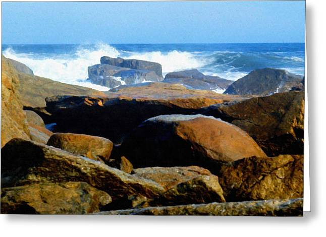 Rocks And Surf Greeting Card by Frank Wilson