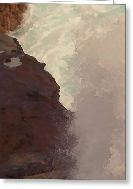 Rocks And Surf Greeting Card by Michael Flood