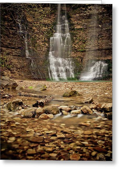 Rocks And Waterfalls Greeting Card by Iris Greenwell