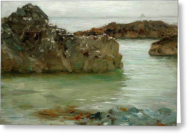 Greeting Card featuring the painting Rocks At Newport by Henry Scott Tuke