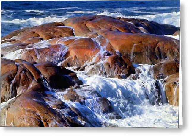 Rocks Awash Greeting Card by Frank Wilson
