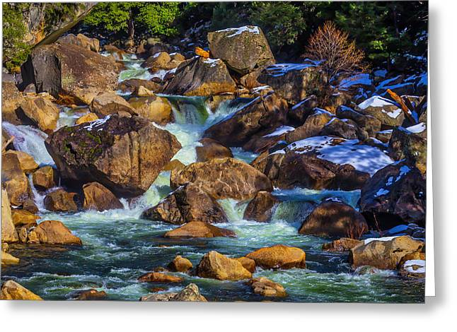 Rocks In The Merced River Greeting Card
