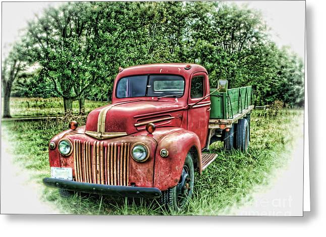 Rocks Old Truck Greeting Card by Pamela Baker