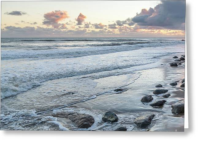 Rocks On The Beach During Sunset Greeting Card