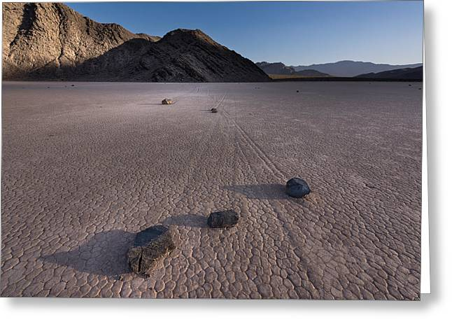 Rocks On The Racetrack Death Valley Greeting Card by Steve Gadomski