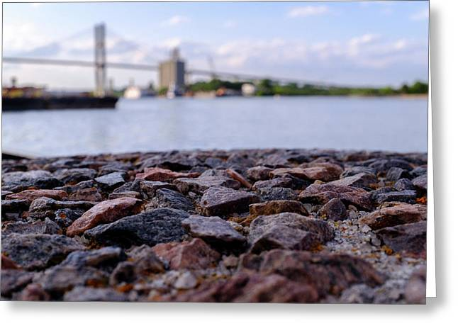 Rocks River And A Bridge In Savannah Georgia Greeting Card