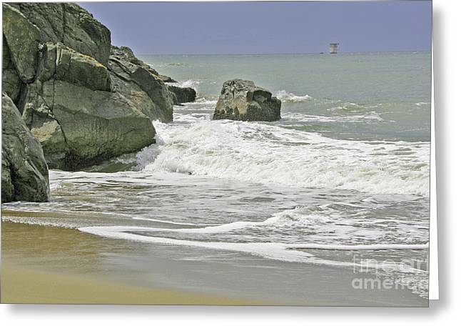Rocks, Sand And Surf Greeting Card
