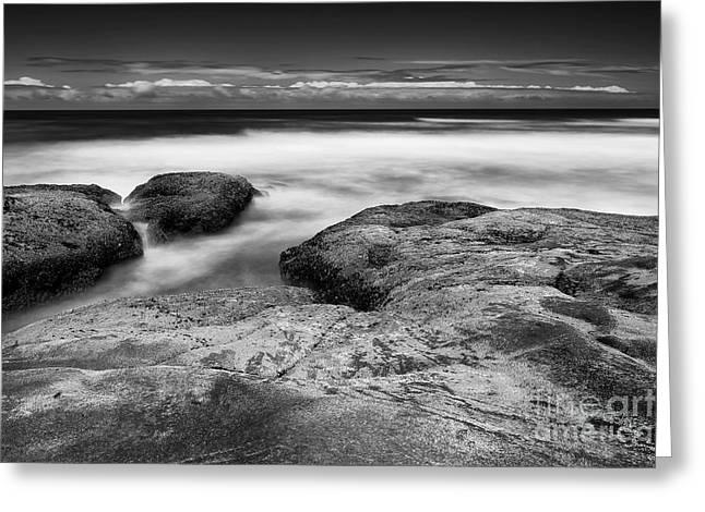 Rocks Towards The Ocean Greeting Card by Masako Metz
