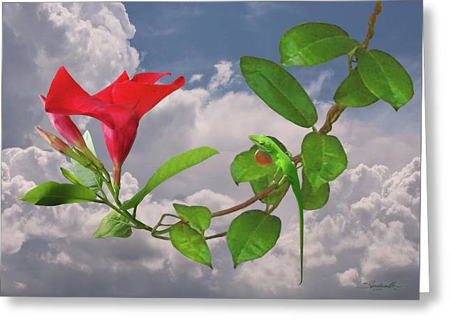 Rocktrumpet And Green Anole Greeting Card