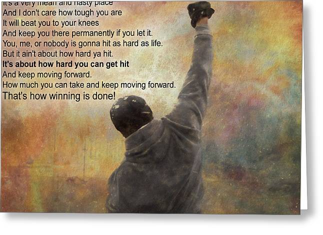 Rocky Balboa Inspirational Quote Greeting Card by Dan Sproul