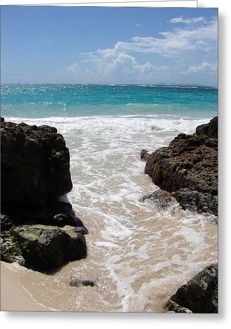 Greeting Card featuring the photograph Rocky Beach In The Caribbean by Margaret Bobb