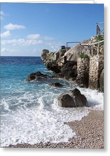 Rocky Beach On Capri Greeting Card by Adam Schwartz