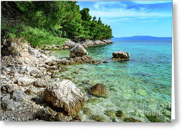 Rocky Beach On The Dalmatian Coast, Dalmatia, Croatia Greeting Card