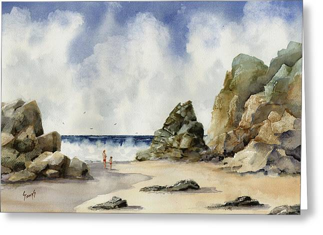 Greeting Card featuring the painting Rocky Beach by Sam Sidders