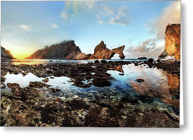 Rocky Beach Sunrise, Bali Greeting Card