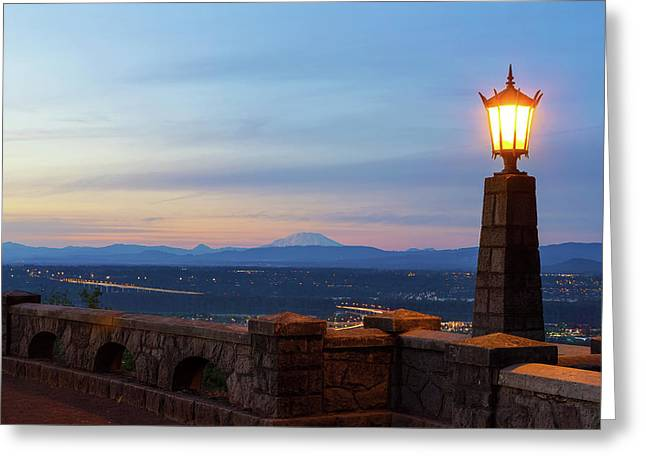 Rocky Butte Viewpoint At Sunset Greeting Card by David Gn