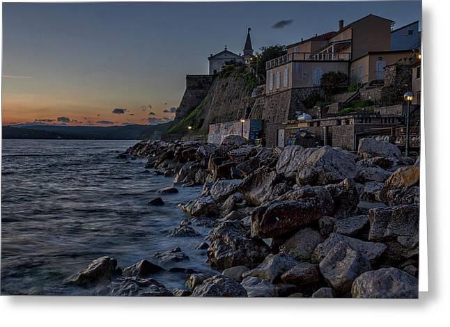 Greeting Card featuring the photograph Rocky Coast At Dawn - Piran - Slovenia by Stuart Litoff