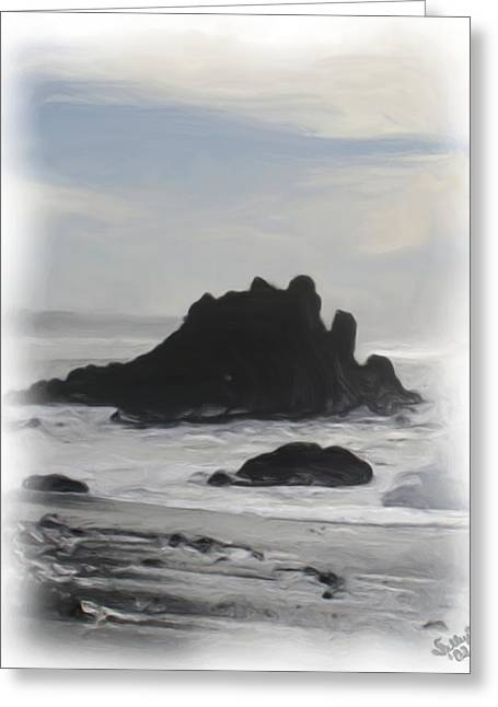 Greeting Card featuring the painting Rocky Coast Newport Oregon by Shelley Bain