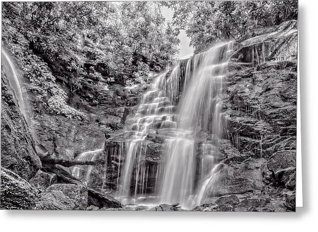 Greeting Card featuring the photograph Rocky Falls - Bw by Christopher Holmes